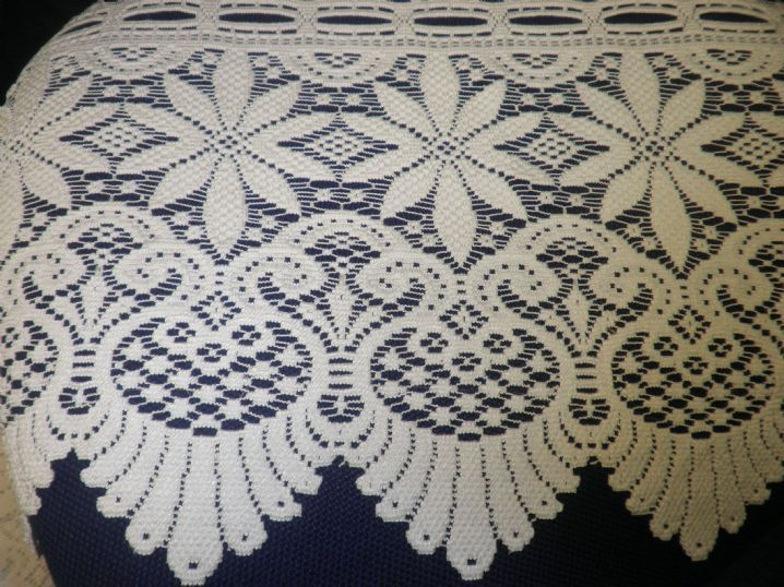 Brightest White Thick Cotton Mix Victorian Lace Cafe Net